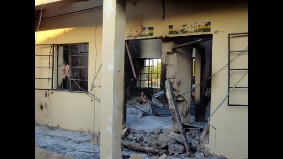 A photo taken on November 6, 2011, shows state police headquarters burned by a series of attacks that targeted police stations, mosques and churches in Damaturu, Nigeria, on November 4, 2011. Attackers left scores injured -- probably more than 100 -- in a three-hour rampage, and 63 people died.