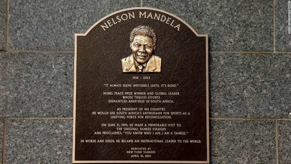 The Yankees have honored the late South African president's historic 1990 visit with a plaque in  Monument Park at Yankee Stadium.