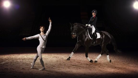 Olympic and European Dressage champion Charlotte Dujardin also demonstrated her graceful moves, riding alongside dancer Kanstantsin Geronik, in Lyon, France.