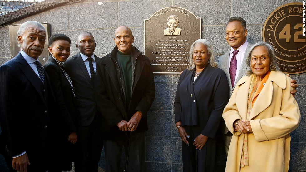 Special guests at the unveiling of the plaque included (left to right) the Rev. Al Sharpton, Lindo Mandela, Zondwa Mandela, Harry Belafonte, Sharon Robinson, the Rev. Jesse Jackson and Rachel Robinson, wife of the late baseball great Jackie Robinson.