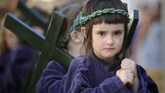 Young penitents parade during a Holy Week procession in the northern Spanish Basque village of Segura on April 17.
