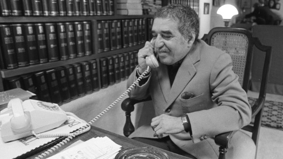 """García Márquez, a native of Colombia, talks on the phone at his home in 1982. He is widely credited with helping to popularize the """"magical realism"""" genre."""