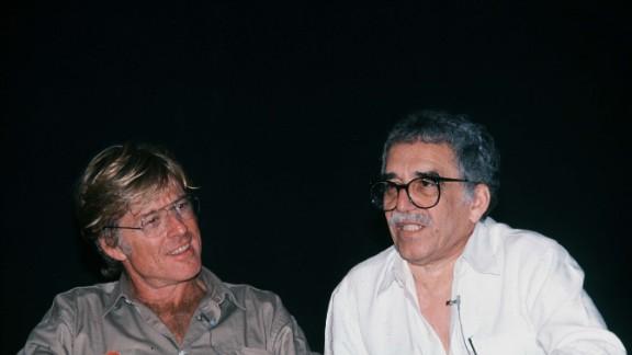 American actor and director Robert Redford sits with García Márquez in Havana, Cuba, in 1988.