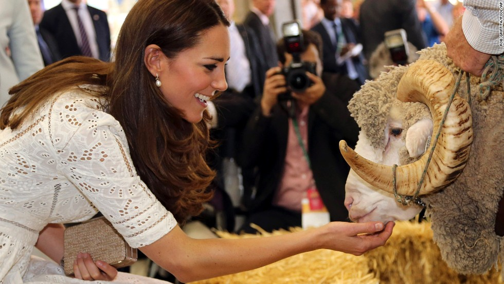 The duchess pets Fred the Merino Ram during a visit to the Royal Easter Show in Sydney on April 18.