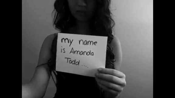 Canadian teen Amanda Todd posted a YouTube video to express her anguish after becoming the target of bullies when risque photos of Todd surfaced online, allegedly posted online by a man with whom she