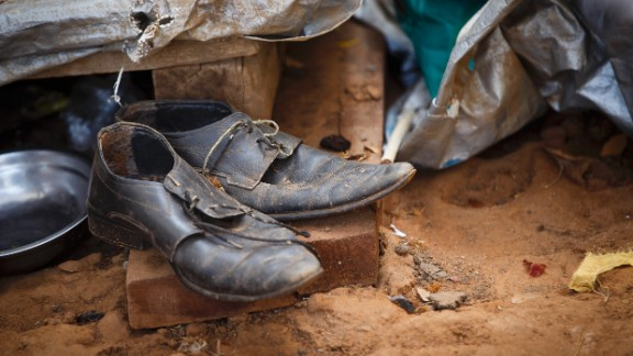 Worn-out shoes are seen in an internally displaced persons camp Thursday, March 27, in Juba.