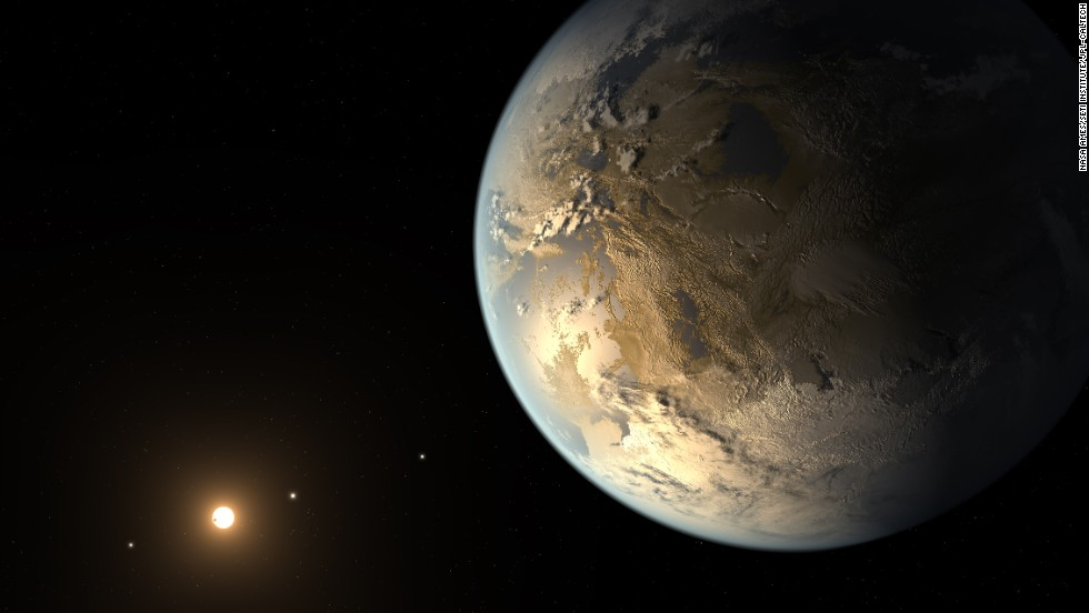 "A team of astronomers announced April 17, 2014, that they discovered the first Earth-size planet orbiting a star in the ""habitable zone"": the distance from a star where liquid water might pool on the surface. That doesn't mean this planet has life on it, says Thomas Barclay, a scientist at the Bay Area Environmental Research Institute at Ames and a co-author of a paper on the planet, called Kepler-186f. He says the planet can be thought of as an ""Earth-cousin rather than an Earth-twin. It has many properties that resemble Earth."" The planet was discovered by NASA's Kepler Space Telescope. It's about 500 light-years from Earth in the constellation Cygnus. The picture above is an artist's concept of what it might look like."