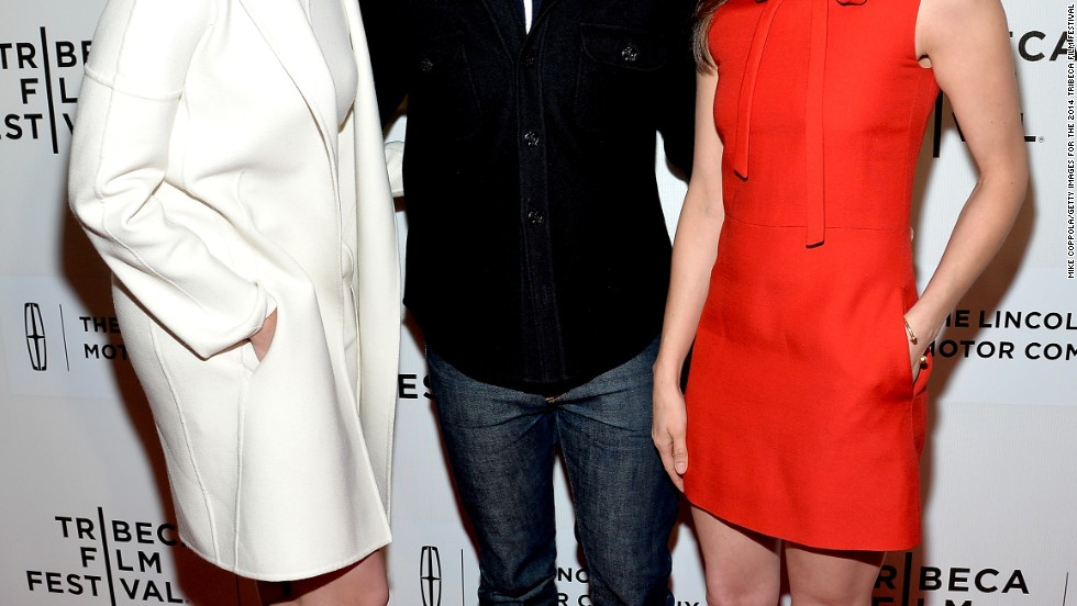 "Max Greenfield is clearly loving being sandwiched between Maggie Grace and Aubrey Plaza at the Tribeca Film Festival premiere of ""About Alex."""