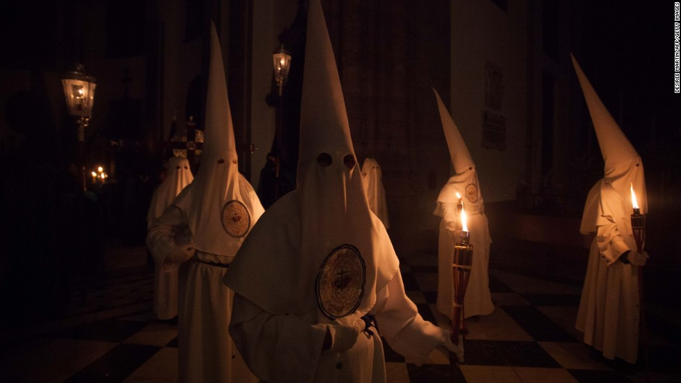 Penitents take part in Laguna on the Spanish Canary Island of Tenerife on Saturday, April 19.