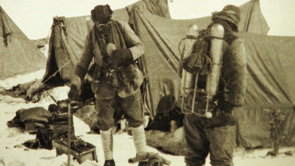 "Mallory returned to Everest in June 1924 with climbing partner Andrew Irvine. This is the last photo of the two before they <a href=""https://www.britannica.com/biography/George-Mallory"" target=""_blank"">disappeared on the mountain</a>. Mallory's body was found 75 years later, showing signs of a fatal fall."