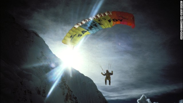 Jean-Marc Boivin paraglides down from the Everest's summit in September 1998, he is the first person to do so.