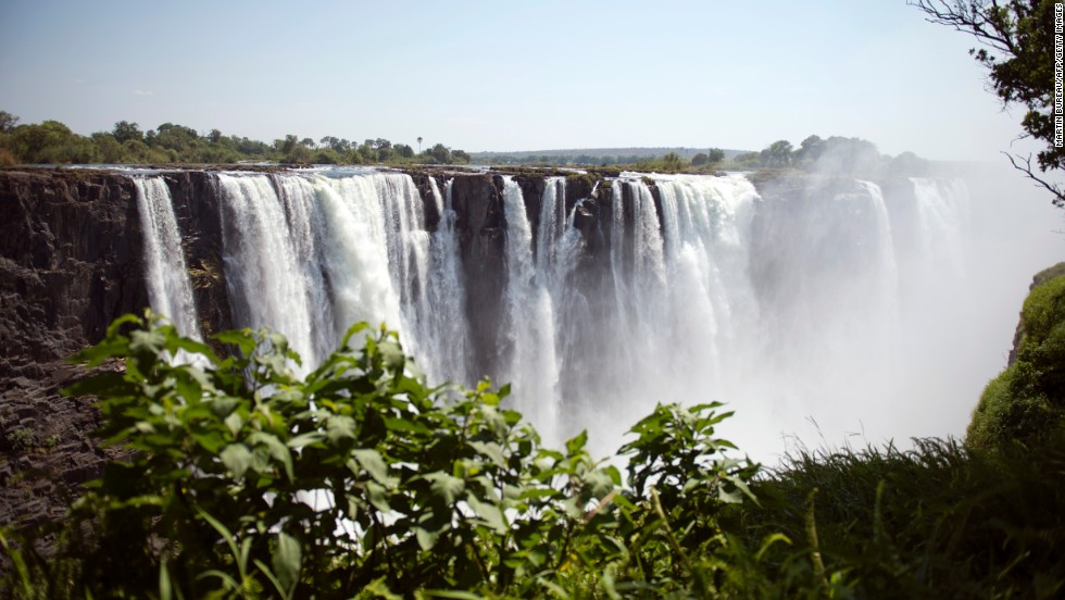 Victoria Falls, on the Zimbabwe-Zambia border, is the world's largest sheet of falling water.