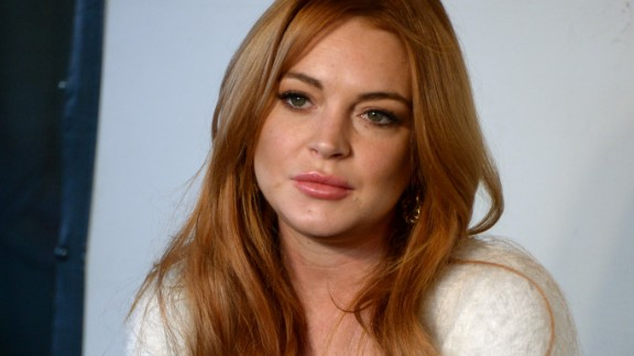 Lindsay Lohan attends a press conference during the Sundance Film Festival in January 2014.