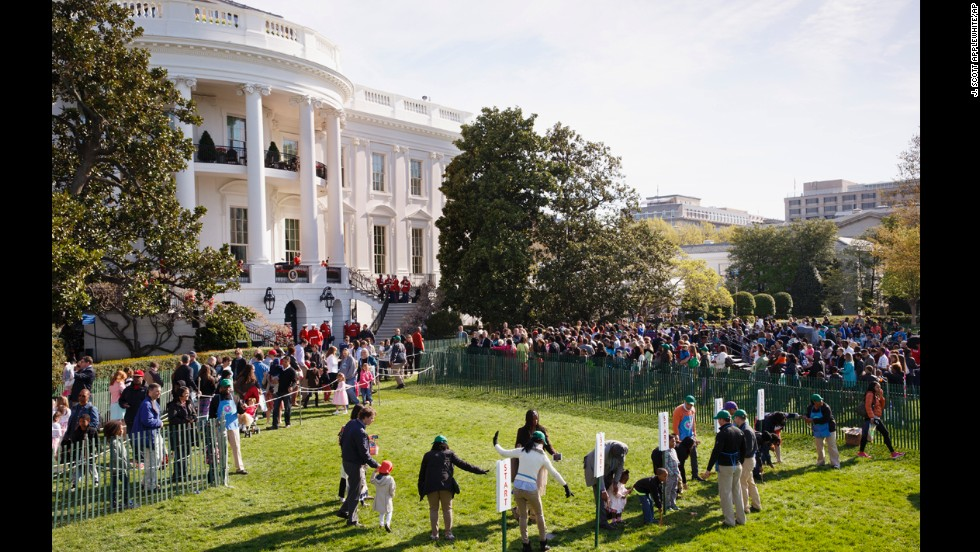 Children and their parents gather on the South Lawn of the White House in Washington on April 21 for the annual White House Easter Egg Roll.