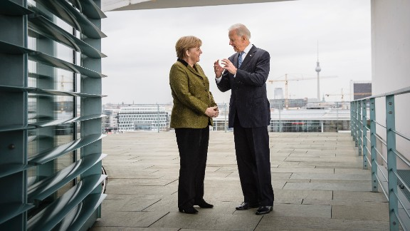 In his photo provided by the German Government Press Office (BPA) German Chancellor Angela Merkel (L) speaks with US Vice President Joe Biden at the start of their meeting at the Chancellery on February 01, 2013 in in Berlin, Germany.