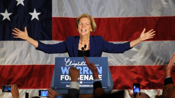 BOSTON, MA - NOVEMBER 6: Elizabeth Warren takes the stage for her acceptance after beating incumbent U.S. Senator Scott Bown at the Copley Fairmont November 6, 2012 Boston, Massachusetts. The campaign was highly contested and closely watched and went down to the wire. (Photo by Darren McCollester/Getty Images)
