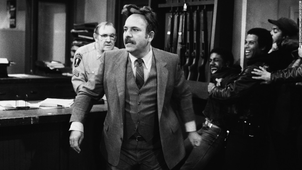 "Rene Enriquez, center, another well-established character actor, played Lt. Ray Calletano on ""Hill Street."" In the '80s, he was a rare example of a Hispanic character on network television. Enriquez died March 23, 1990, of cancer."
