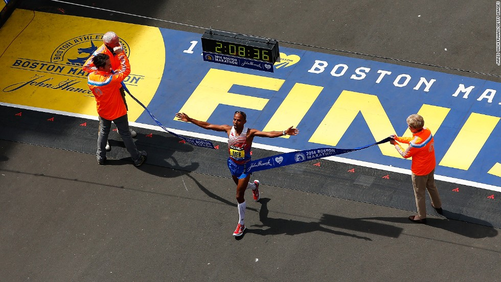 "Meb Keflezighi crosses the finish line to become the first American man to win the Boston Marathon since 1983. Keflezighi, 38, won the men's division with an unofficial time of 2:08:37, according to the <a href=""https://www.facebook.com/TheBostonMarathon/posts/10152044909106657"" target=""_blank"">Boston Marathon's Facebook page.</a>"