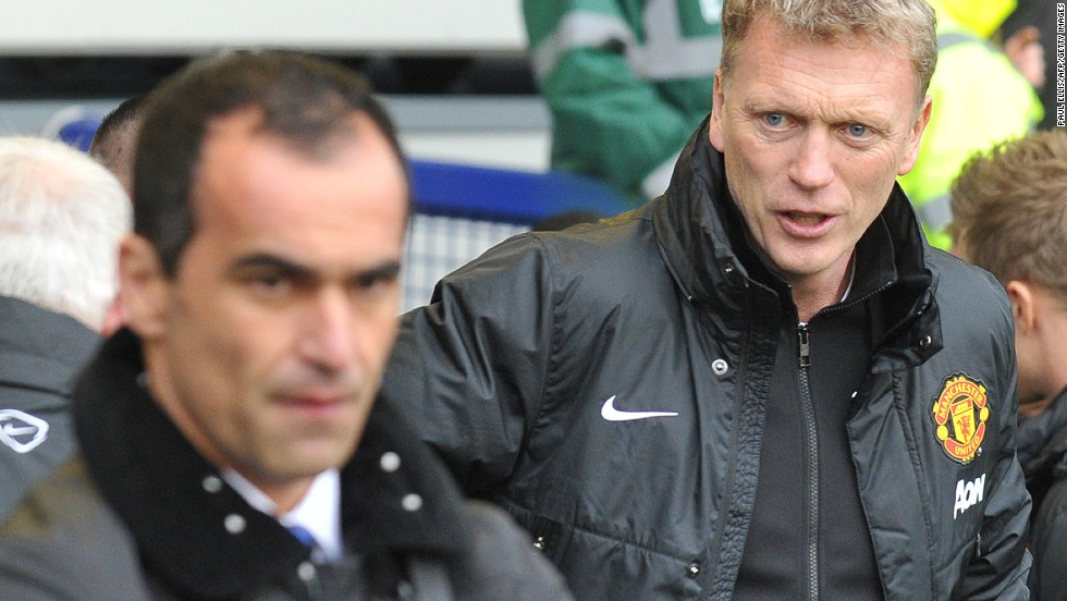 Everton replaced Moyes with Roberto Martinez (left). The Spaniard has not only produced results but an attractive style of football. Everton's 2-0 win at Goodison Park on Sunday sent United crashing to an 11th league loss this season under Moyes. It also ended United's hopes of qualifying for next season's European Champions League.