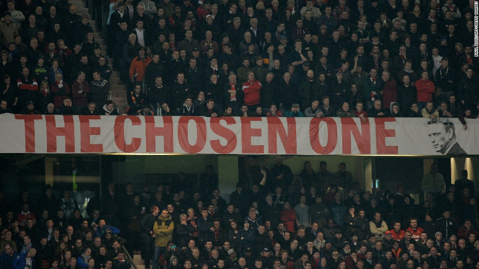 "Moyes didn't need reminding that he was Ferguson's choice of replacement. This banner has been a constant fixture at the Stretford End at Old Trafford all season. Ferguson told fans to give Moyes time after his farewell game in charge at the ""Theater of Dreams,"" but the Glazer family has run out of patience."