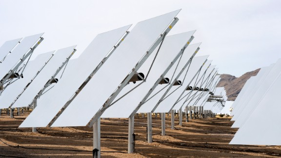 """About 370,000 mirrors in the Mojave Desert reflect sunlight for a """"power tower"""" system that powers 140,000 California homes."""