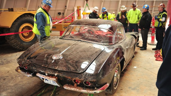 """Despite the car's sinkhole ordeal, museum board member Dana Forrester said it appears the 1962 Corvette """"really didn't sustain all that much damage, and I think it will be fairly easily restored. It's just going to need some repair of some punctured or cracked fiberglass. It kind of amazed me that that older fiberglass seemed to hold up better than some of the newer composite plastics that they have."""""""