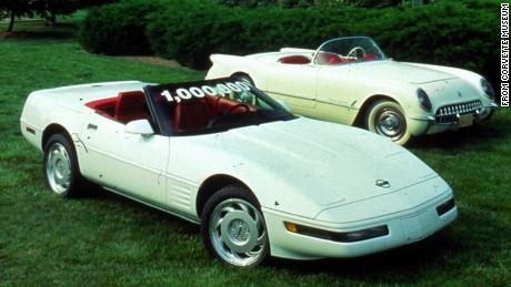 The 1992 1 millionth Corvette, in the foreground, sits next to a 1953 model.