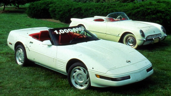 """The second car that is slated for restoration is the 1 millionth Corvetteever produced. <a href=""""http://www.gm.com/article.content_pages_news_us_en_fastlane_2014_mar_0304-corvette.html"""" target=""""_blank"""" target=""""_blank"""">GM says</a> it was built around 2 p.m. on July 2, 1992, at Corvette's Bowling Green Assembly Plant. The 1 millionth Corvette was a white convertible with red interior, as was the first-built Corvette in 1953 -- like the car on the right."""