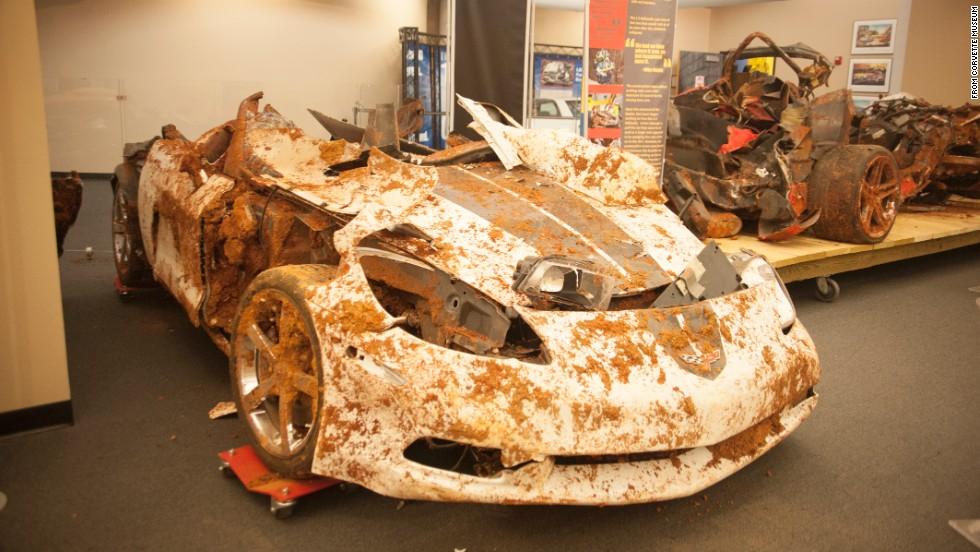 "Seen here after its rescue, the ""1.5 Millionth"" Corvette obviously took a beating."