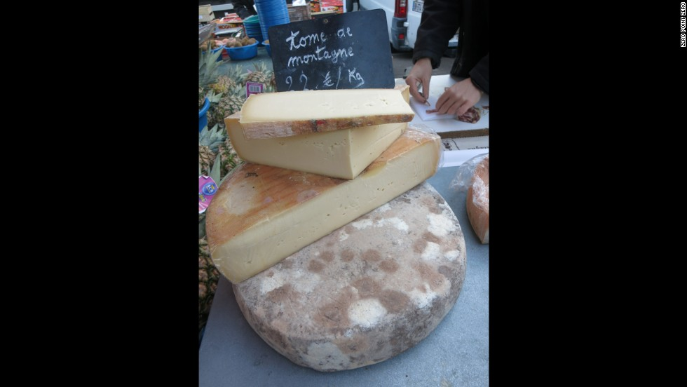A cheese made in the French Alps is sold at the Saint Antoine market in Lyon.