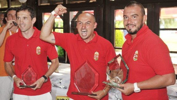 Three countries formed the Federation for International FootGolf in June 2012 for the first ever World Cup in Budapest, Hungary, which was won by Bela Lengyel (center). Today the world governing body boasts 22 different member nations.