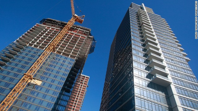 Construction of luxury condos in Brooklyn, New York, in 2009.