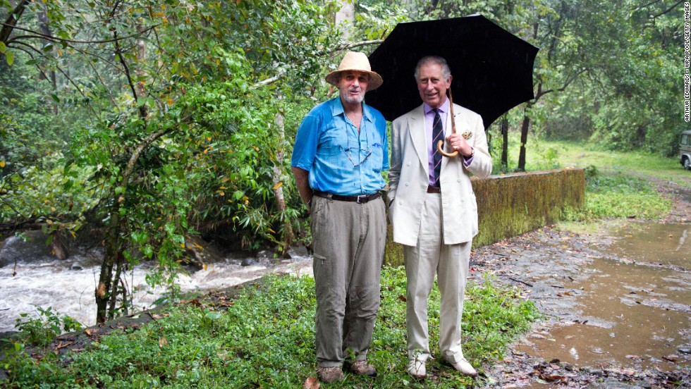 Charles, Prince of Wales, right, and his brother-in-law Shand, visit the elephant corridor at Vazhachal Forest Range in India on November 12.