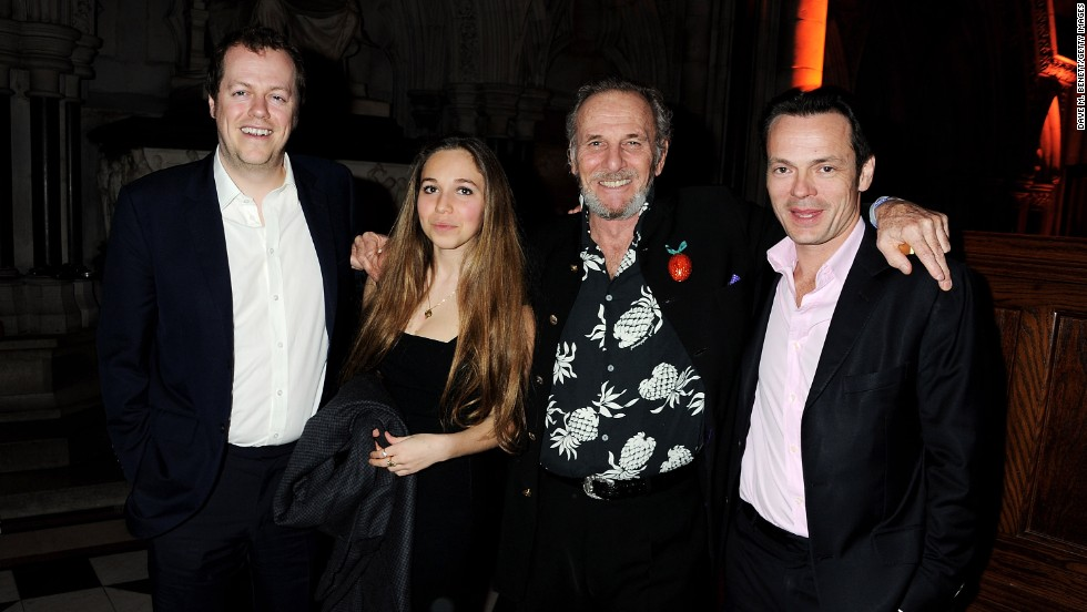 Shand with nephew Tom Parker Bowles, left, daughter Ayesha Shand and an unidentified guest at the Faberge Big Egg Hunt Grand Auction in London on March 20, 2012.