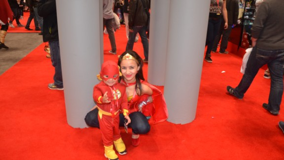 Kids can often be seen dressing like their adult cosplaying counterparts at conventions like New York Comic Con. Here's Wonder Woman posing with a pint-size Flash at last year's convention in the Big Apple.