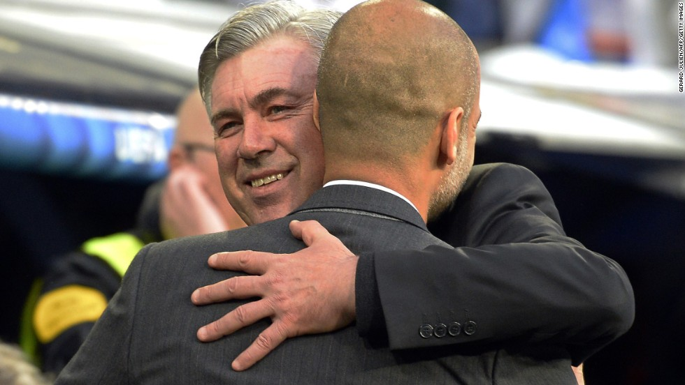 There's only one coach smiling after the first leg of Real and Bayern's Champions League semi-final and that's Real Madrid coach Carlo Ancelotti, seen here hugging Bayern Munich manager Pep Guardiola.