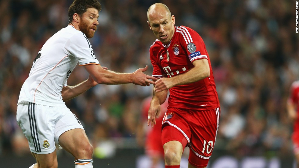 Former Madrid player Arjen Robben (right) was one of several Bayern Munich players who failed to make their superior possession pay in front of goal.