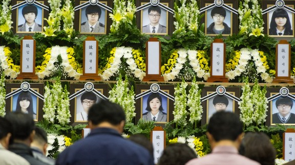 People attend a memorial for the victims at the Olympic Memorial Hall in Ansan on Thursday, April 24.