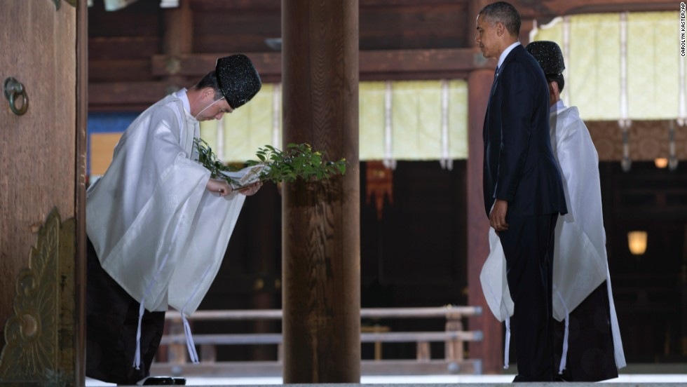 Obama receives a blessing at Meiji Shrine in Tokyo on April 24.