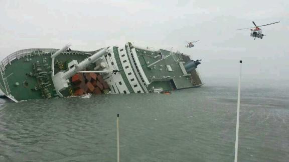 The passenger ferry Sewol sinks off the coast of Jindo Island on April 16, 2014 in Jindo-gun, South Korea.