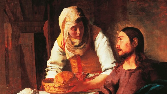 St. Martha, depicted here serving Jesus, is the patron saint of waiters. The Bible says Jesus often visited Martha's home in Bethany, and once gently criticized her for busily making preparations when she should have been listening to his teachings.