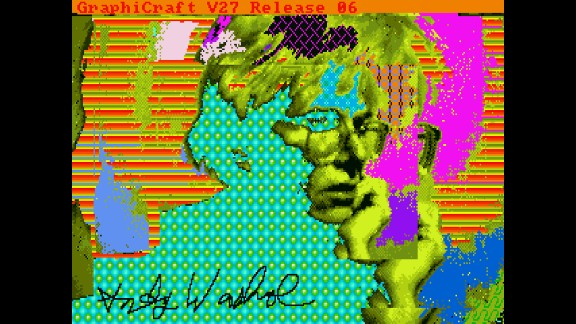 """The Andy Warhol Museum released images that were recently recovered from an Amiga computer.  Warhol created the images as part of a commission by the Commodore computer company, which made the Amiga, to demonstrate the computer's graphic arts capabilities.  The images had been trapped on floppy discs in an obsolete format. One of the images released is this self-portrait titled """"Andy2."""""""
