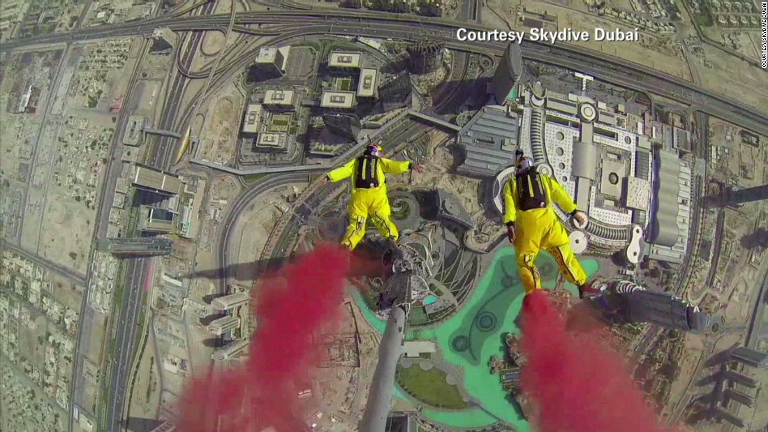 Like everywhere in the world, BASE jumpers sometimes operate on the wrong side of the law. But Dubai has seen some spectacular -- and legal -- stunts. Soul Flyers World Champions Fred Fugen and Vincent Reffet broke the world record for the highest BASE jump from a building in 2014 when they scaled the Burj Khalifa. The jump involved three years of planning and training in the Swiss Alps. On the day the duo descended six times, on one occasion in wing suits.