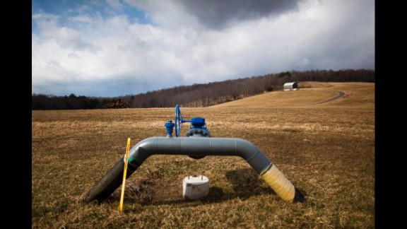 A gas pipeline protrudes from the ground at a farm outside Dimock, Pennsylvania, in March 2012. Proponents of fracking say petroleum extraction is good for the economy and boosts national security by providing more energy sources.