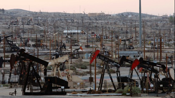 Pumpjacks and wells churn away at an oil field on the Monterey shale formation in March 2014. Opponents of fracking in California cite increased water usage amid a devastating drought and possible chemical pollution as primary reasons for denouncing the operations. There are also concerns about fracking disturbing the already volatile, 800-mile-long San Andreas Fault.