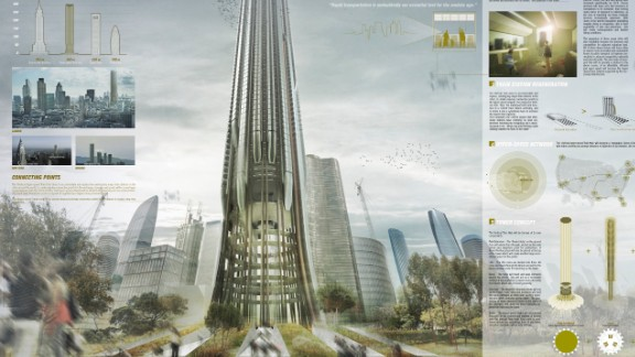 The proposal by UK-based designers Christopher Christophi and Lucas Mazarrasa calls for tall cylindrical skyscrapers to replace the existing flagship train stations that have a large footprint.