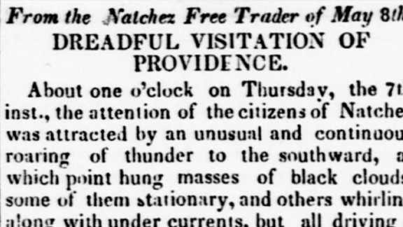"""2. The """"Natchez Tornado"""" killed 317 people and injured 109 on May 6, 1840, along the Mississippi River in Louisiana and Mississippi. The official death toll may not have included slaves, according to the Federal Emergency Management Agency."""
