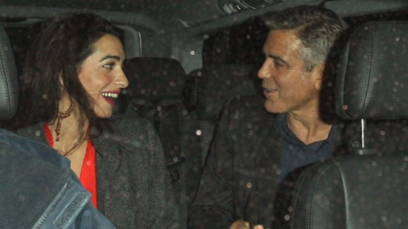 Amal Alamuddin, an Oxford-educated lawyer from England, married George Clooney in September 2014.  Here the couple are seen leaving Berners Tavern in London on October 24, 2013.