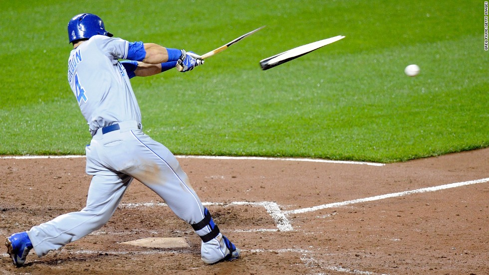 Alex Gordon of the Kansas City Royals breaks his bat on a groundout Friday, April 25, during a Major League Baseball game against the Baltimore Orioles.