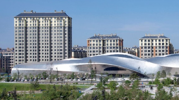 The China Wood Sculpture Museum punctuates the landscape in the northern Chinese city of Harbin. The twisted 200-meter-long building was inspired by icicles, appropriate for the icy climes of the city.